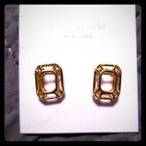 "Kate spade gold "" freeze framed"" earrings"